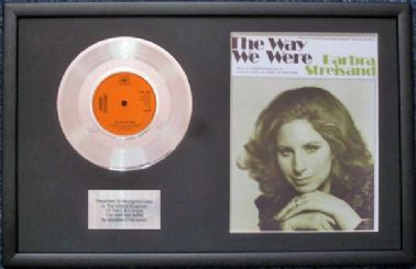 "BARBRA STREISAND- 7"" Platinum Disc & Song Sheet - THE WAY WE WERE"